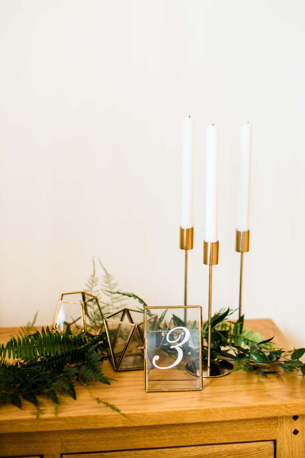 Brass Frame Table Number Hire and Geometric Lanterns and Candles