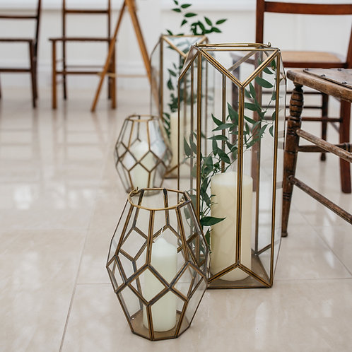 Brass and Glass Lantern Hire (Pair)