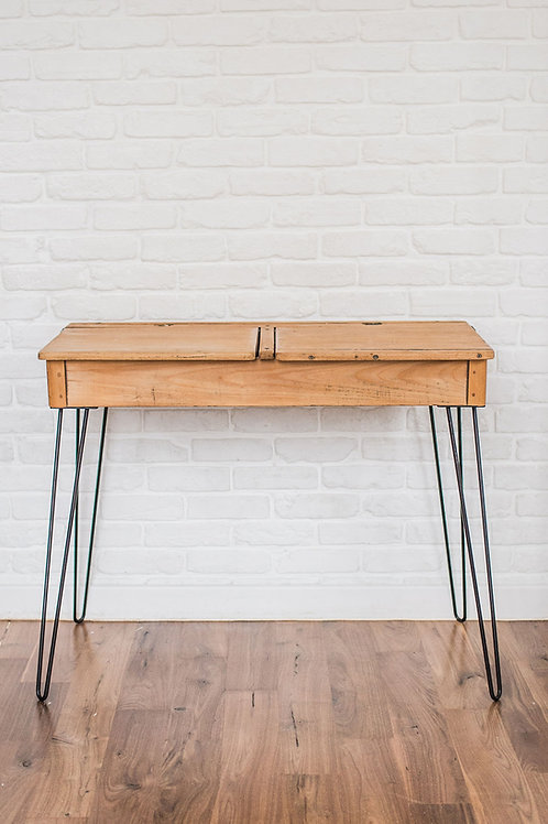 'Penny' Vintage School Desk Console with Hairpin Legs