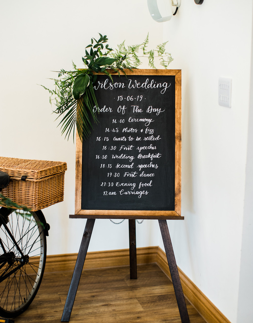 Order of The Day Chalkboard Sign