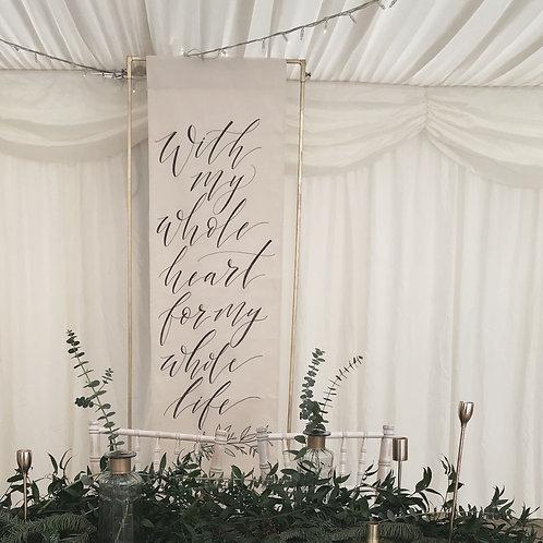 Fabric Banner Wedding Sign & 6ft Frame