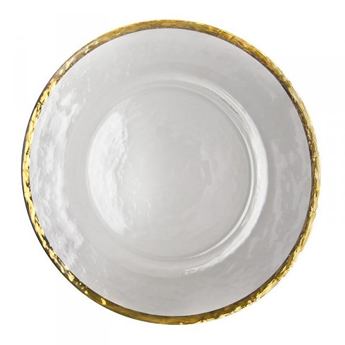 Charger Plate Hire Glass with Gold Rim