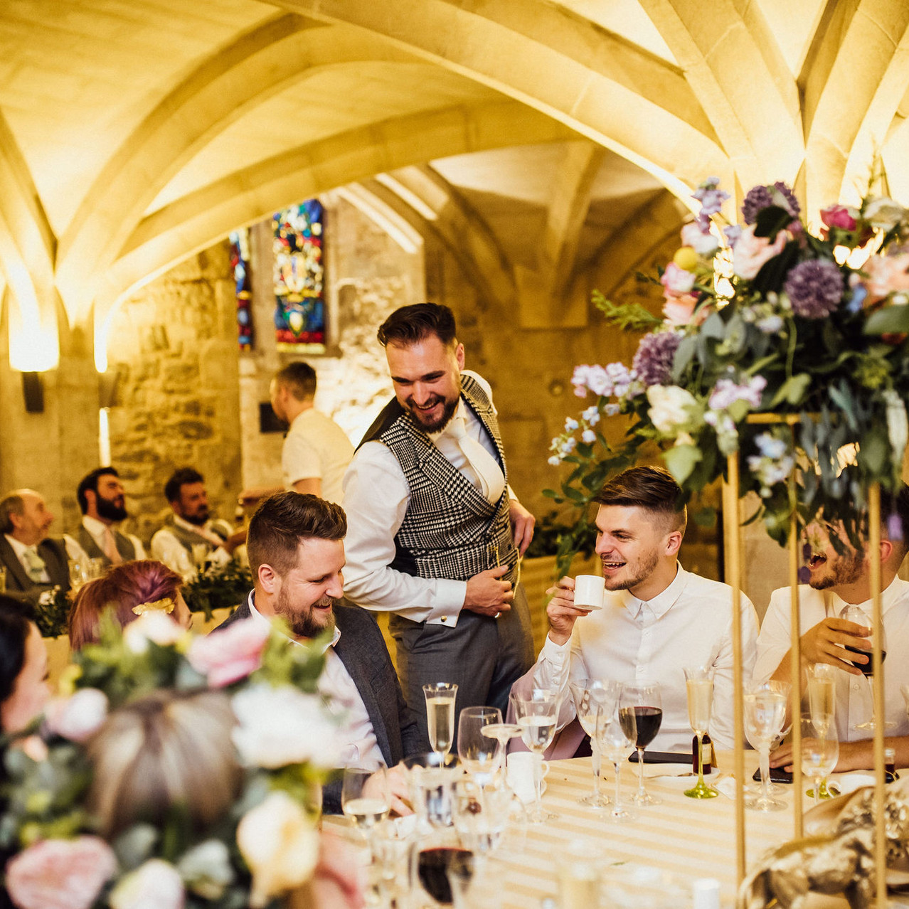 Tall table centrepieces and guests