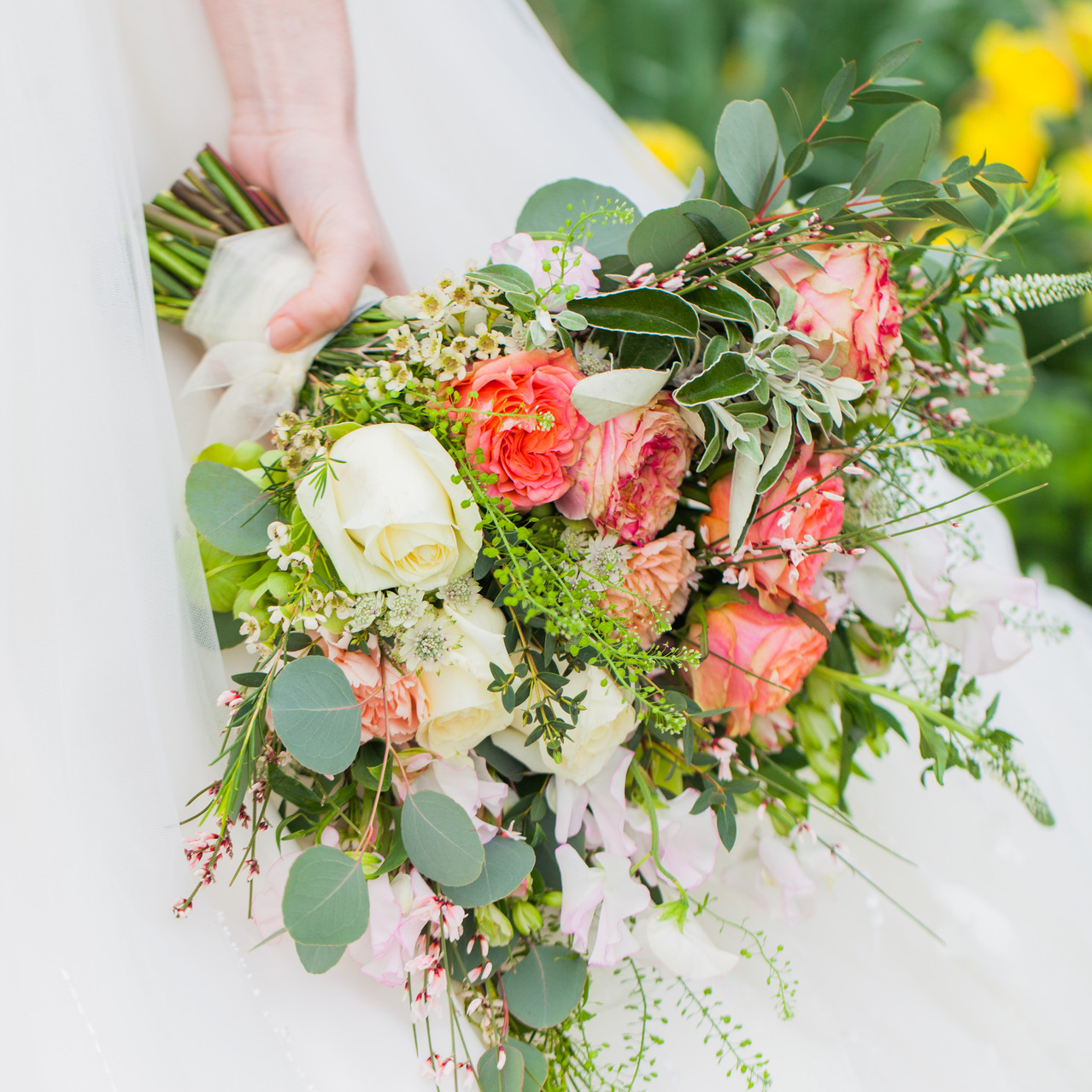 Spring Bridal Bouquet with Roses