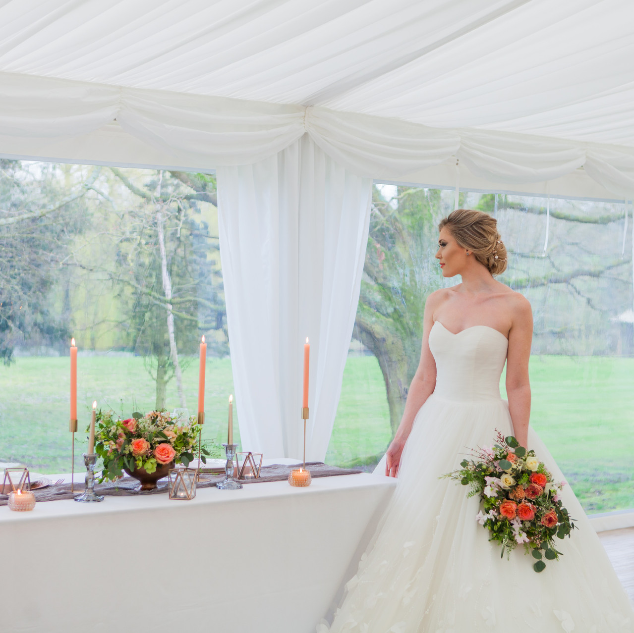 Marquee Wedding Bride and Top Table
