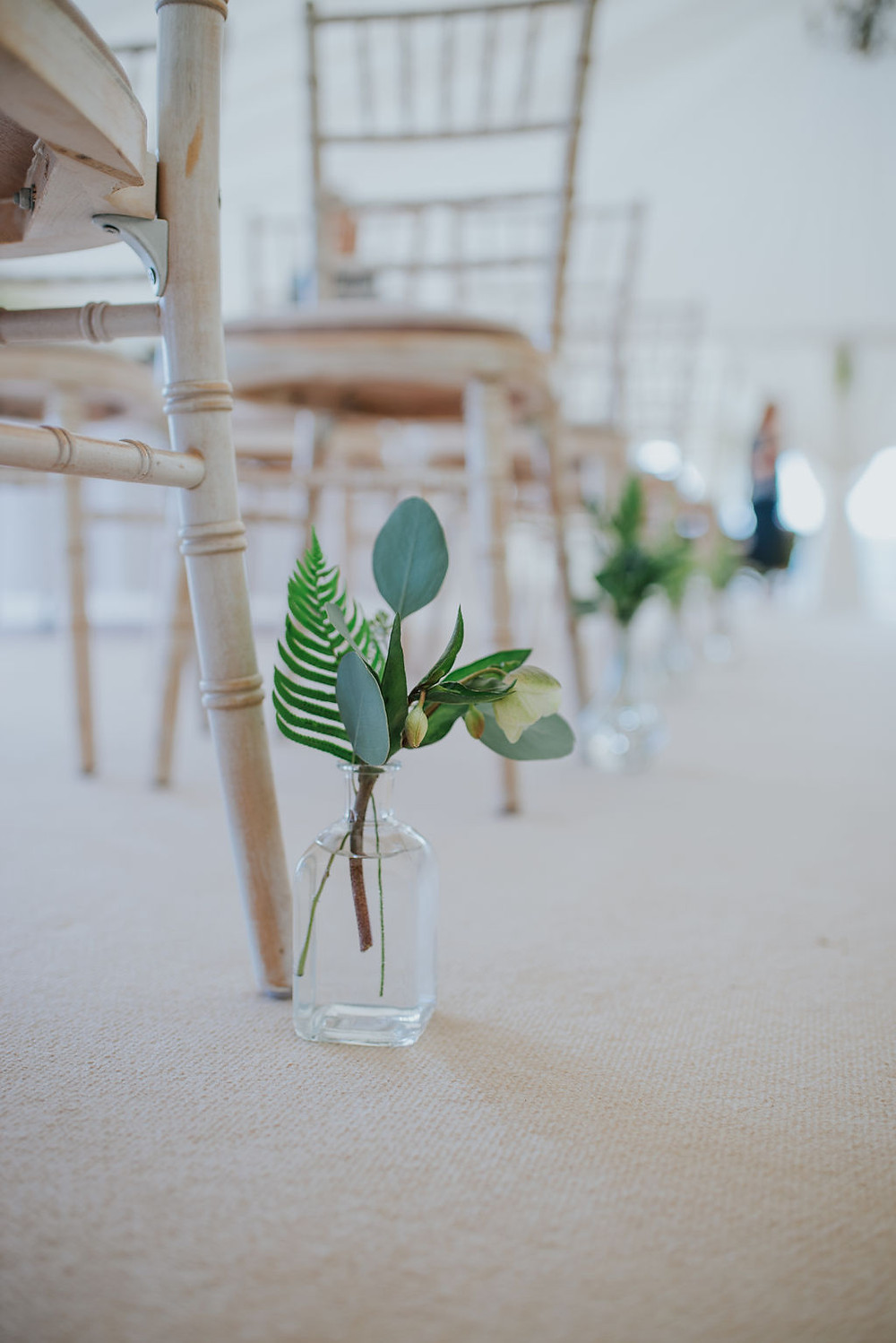 Aisle Markers alongside Whitewashed Chiavari Chairs