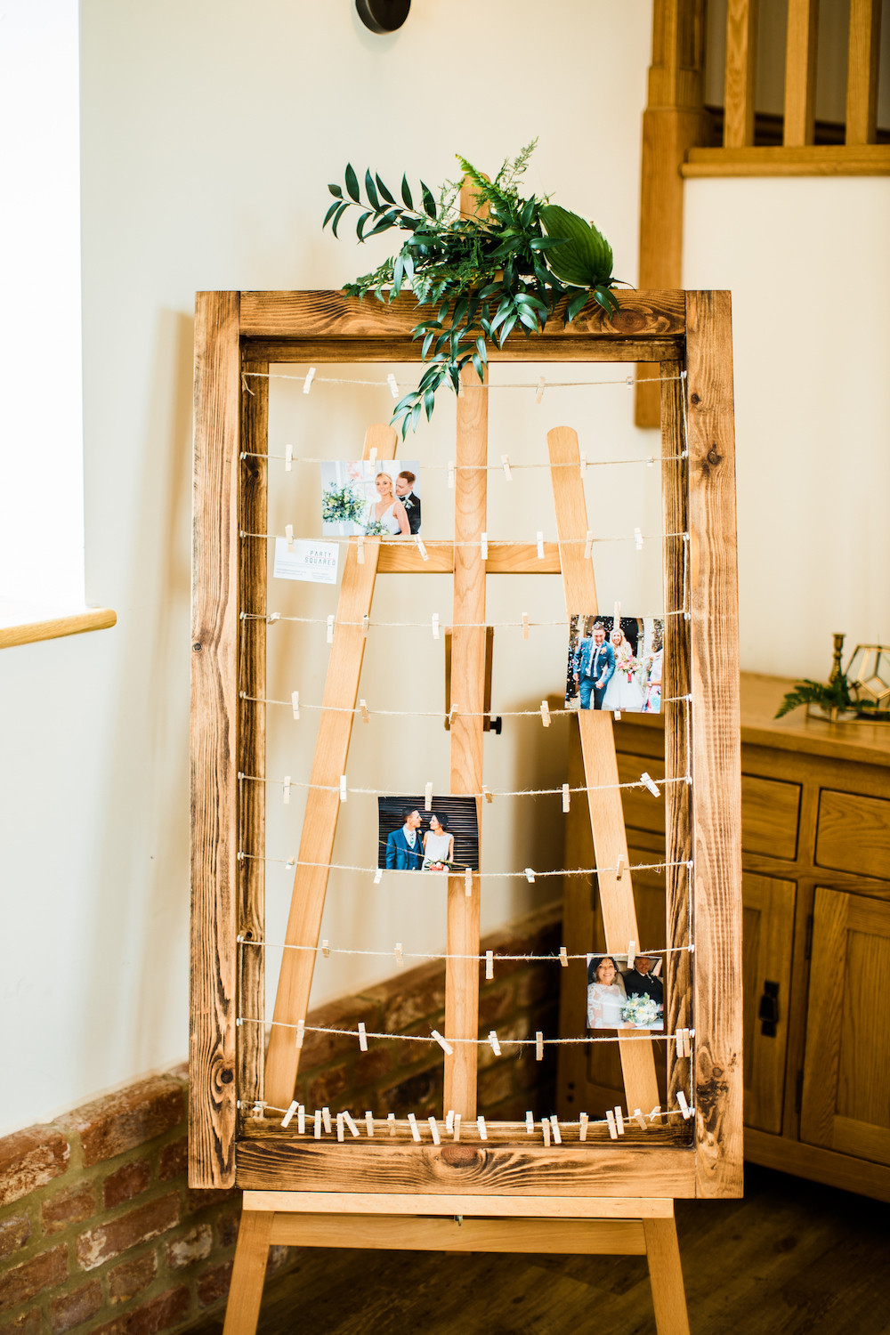 Polaroid Guest Book Gallery Frame on Wooden Artists' Easel Wedding Memories Photo Gallery Peg and String Frame