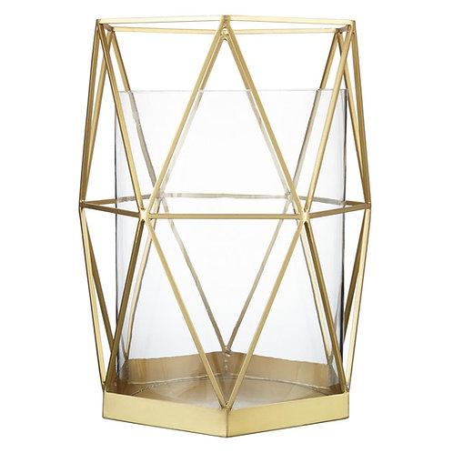 Gold Geometric Hurricane Vase