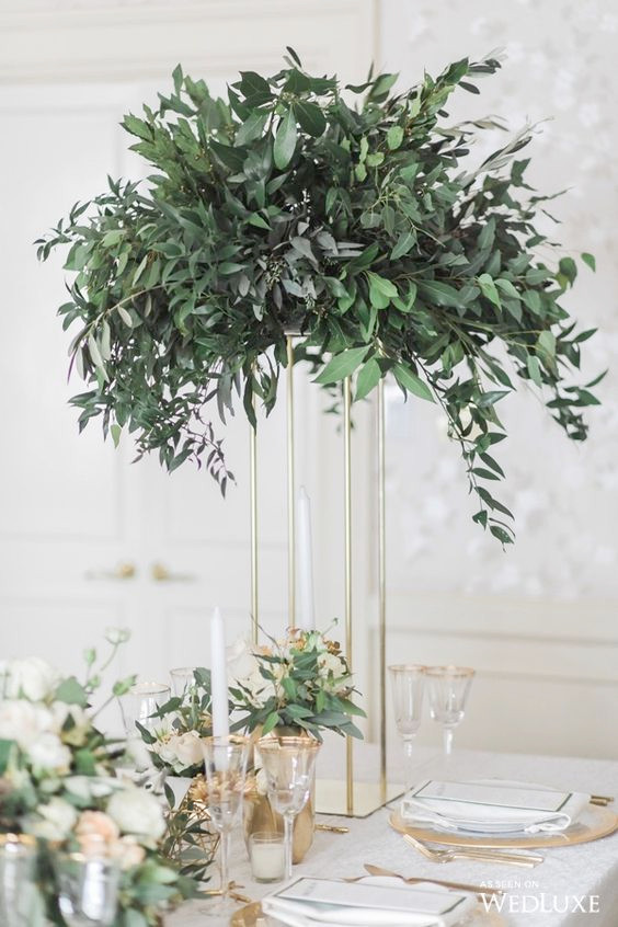 Elegant Greenery Arrangement on Gold Plinth