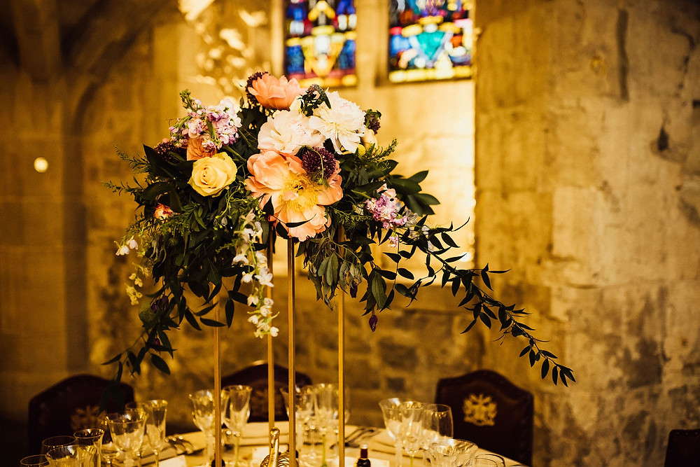 Tall wedding table centrepieces