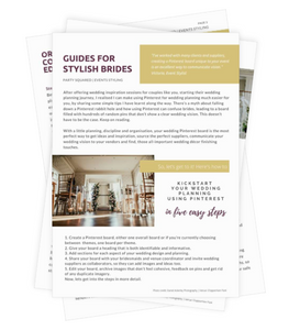 Guide for brides using Pinterest to start to plan their wedding.
