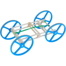 A DIY rubber band car engineering project made from craft sticks and large wheels.