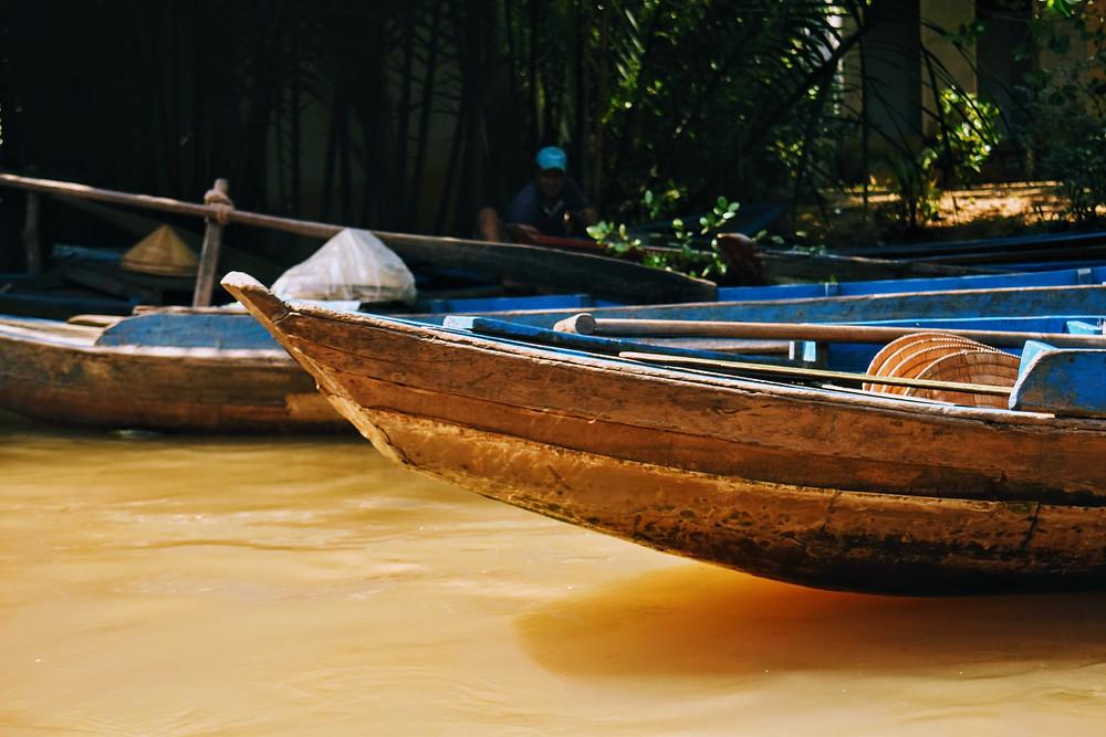 canoe on mekong delta