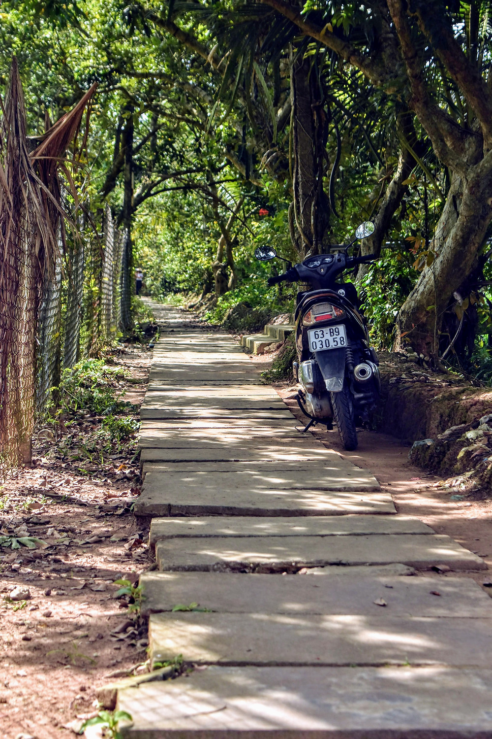 moped on rural path