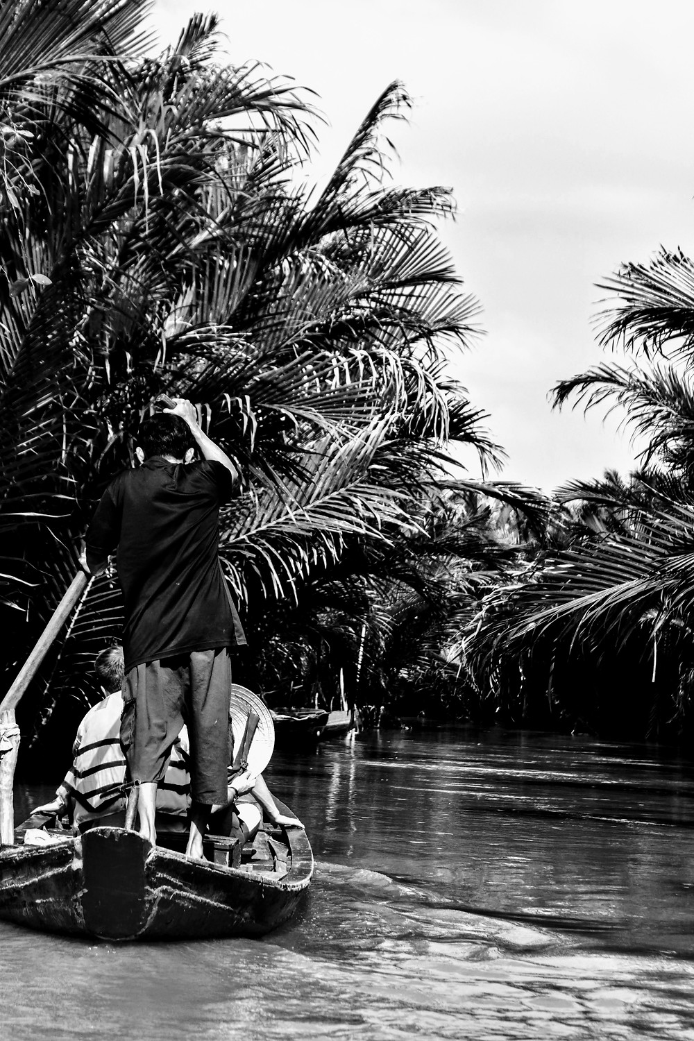 man paddling a boat on mekong delta canals