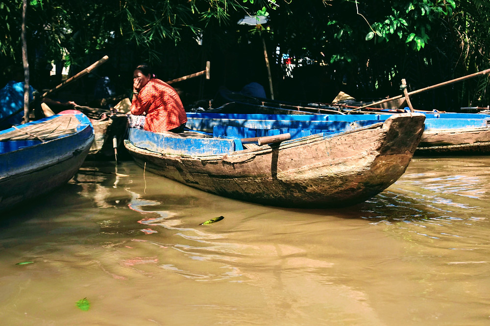 boat on mekong delta canal