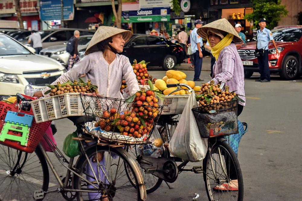 Selling Fruit in Saigon, Vietnam