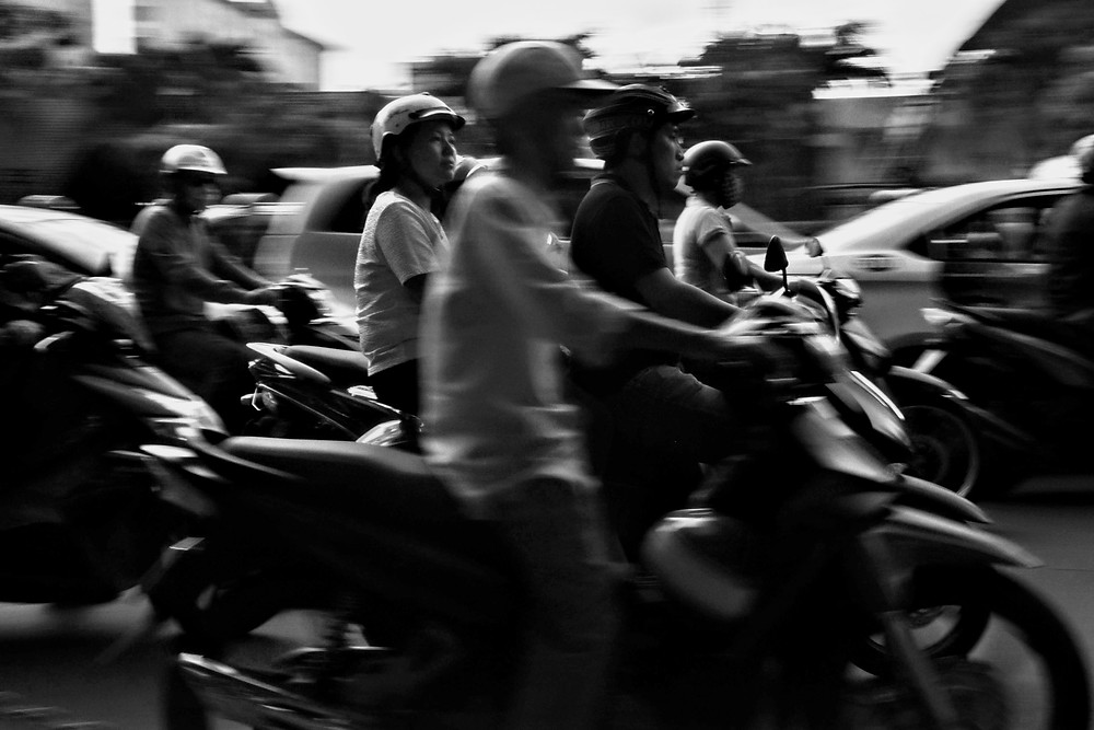 Mopeds in downtown Ho Chi Minh
