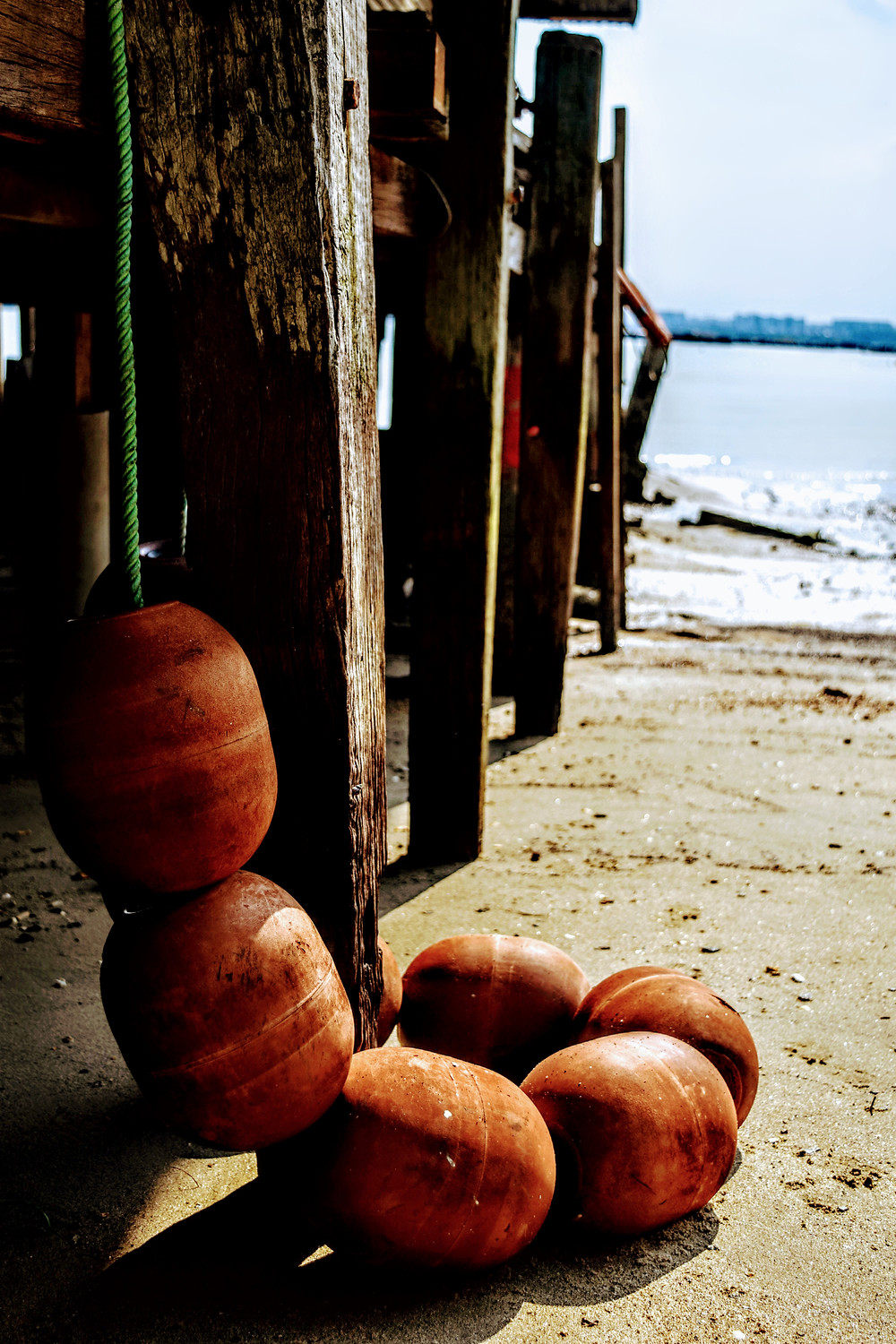 landscape photography of beach pier and flotation device