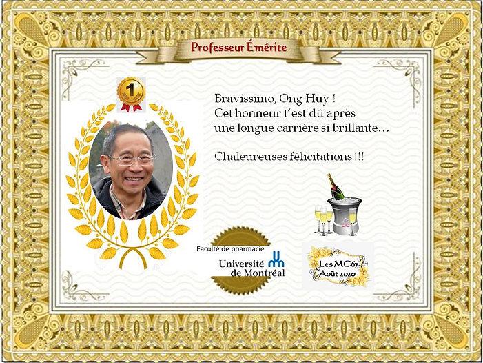 Felicitations Ong Huy - prof emerite- se