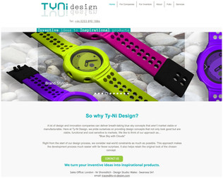 Ty-Ni design logo displayed on the clients home page.
