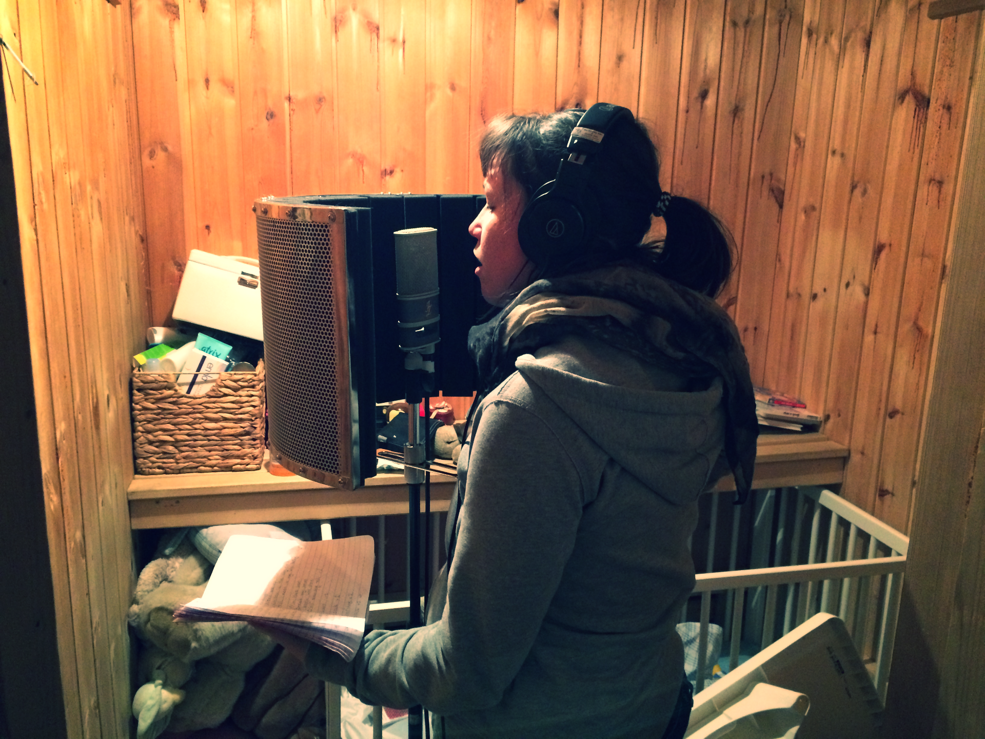 Recording song in a sauna