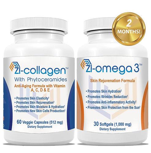 1 Zi-collagen (60 Capsules 512 mg) + 1 Zi-omega 3 (30 Softgels 1,000 mg)