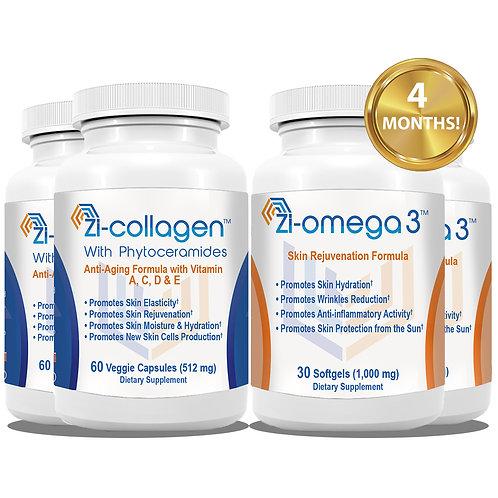 2 Zi-collagen (60 Capsules 512 mg) + 2 Zi-omega 3 (30 Softgels 1,000 mg)
