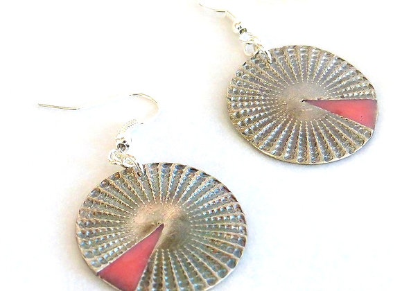 Coral Wedge Disc Earrings