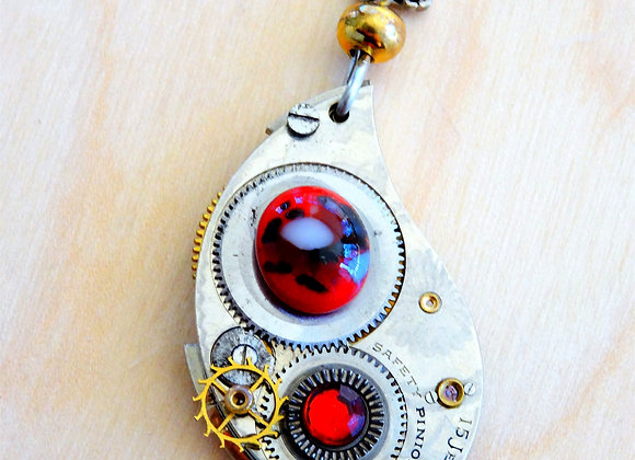 Watch Gear & Red Glass Cabachon Necklace