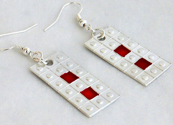 Red Square and Rectangle Earrings