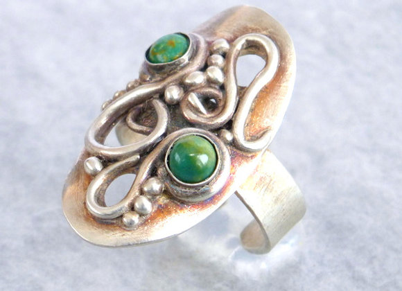 Green Turquoise Open Work Ring