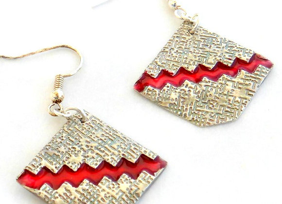 Jagged Red Resin Earrings