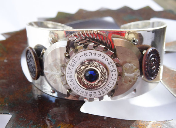 Thick Antique Collage Cuff