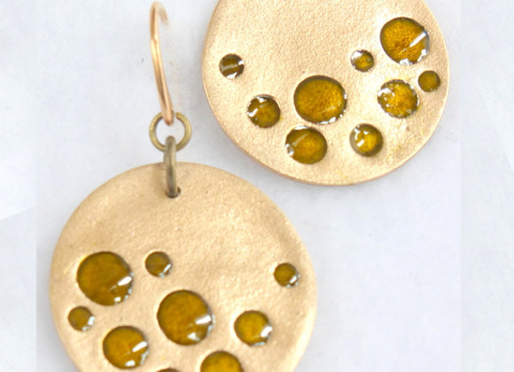 Amber Bubble Bronze Earrings