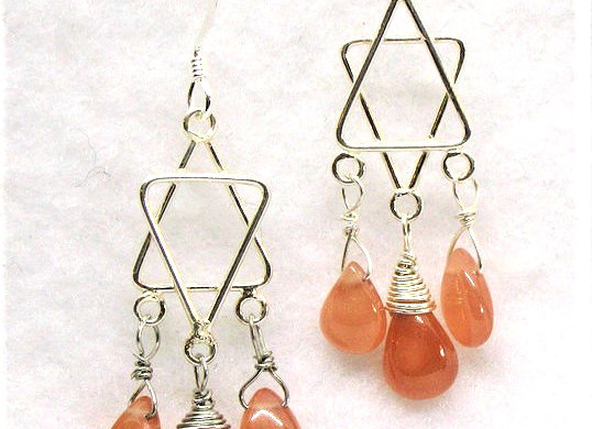 Rhodochrosite Chandelier Earrings