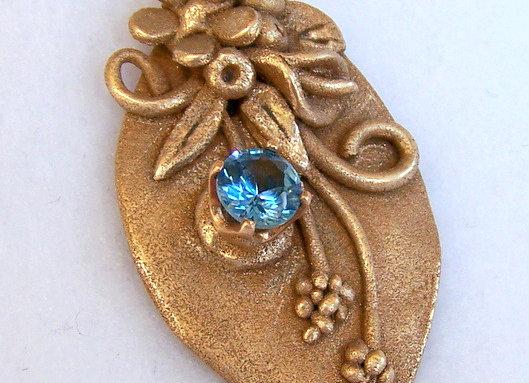 Bronze Floral Topaz Pendant