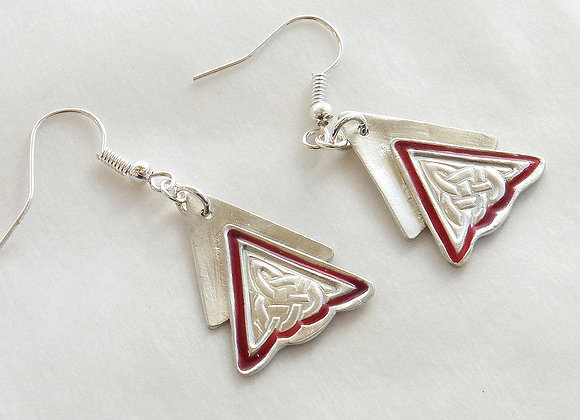Red-accented Celtic Knot Earrings
