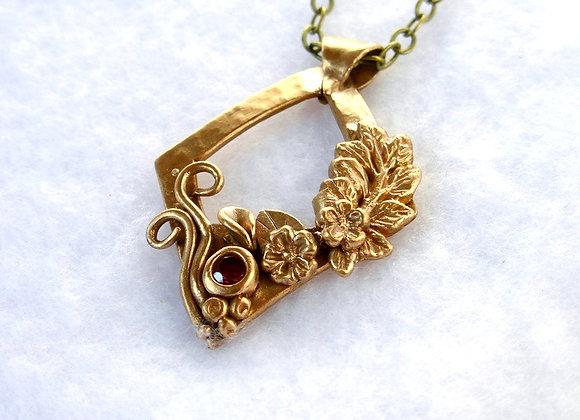 Floral Frame Bronze Necklace