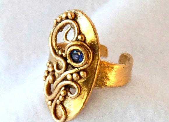 Bronze Filigree Sapphire Ring