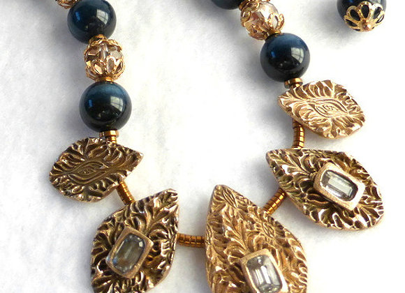 Blue and Gold Vintage Style Necklace