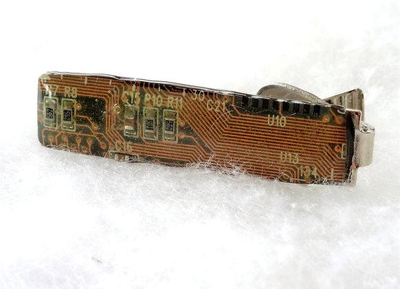 Reclaimed Tan Circuit Board Tie Clip