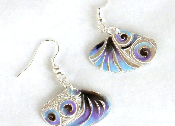 Cool-colored Fan Earrings