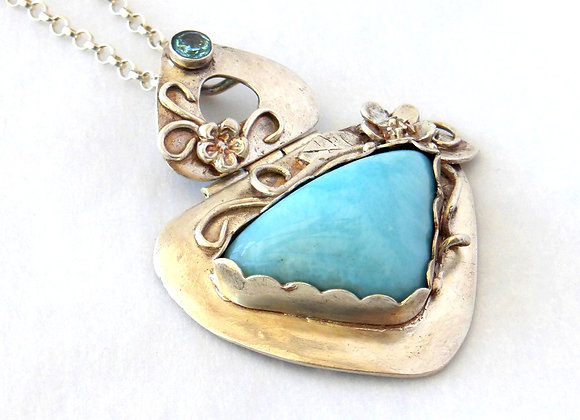 Larimar and Floral Hinged Pendant