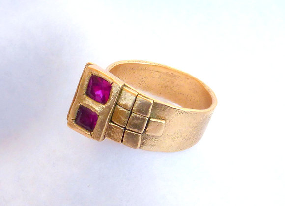 Double Ruby Bronze Ring