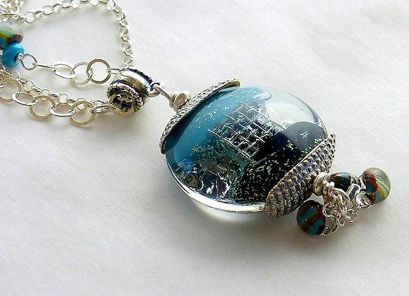 Teal Glass Bead Pendant