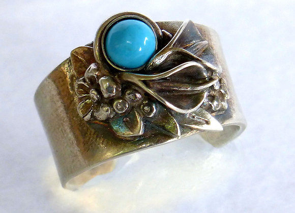 Turquoise and Silver Lilies Ring