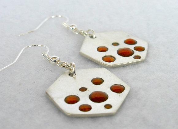 Amber Bubble Silver Earrings
