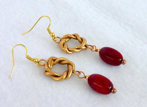 Carnelian & Bronze Earrings