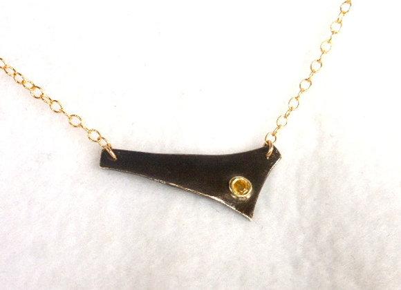 Yellow Sapphire Oxidized Pendant